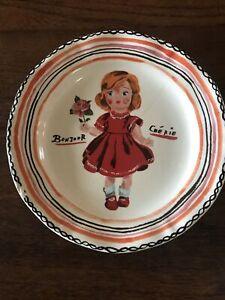 """Anthropologie Plate NATHALIE LETE Girl Red Dress BONJOUR CHERIE French 10"""""""