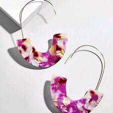 Gold Filled Acrilc Pink Dangle Long Wire Earrings Earring Fashion