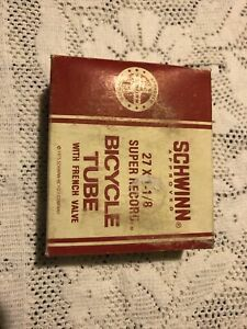 "New-In-Box Vintage Schwinn Super Record Bicycle Tube 27"" x 1 1/8"" Presta"