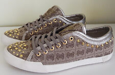 $89 GUESS Sneakers Shoes Esther Gold Studs Logo Sneakers 7 NIB