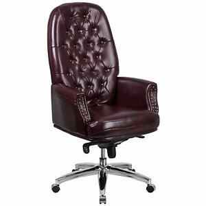 Flash Furniture High Back Tufted Burgundy Leather Swivel Office Chair with Arms