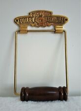 Reproduction Victoria Toilet Fixture Brass & Hard Wood Toilet Roll Holder. Lot 1