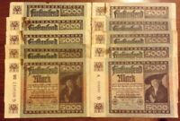 Lot Of 10 X Germany Banknotes. 5000 Marks. Dated 1922. Reichsbanknote.