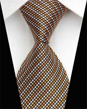 Wide Orange Gold & Silver Hand Woven  Pure Silk Neck Tie with Diagonal Lines