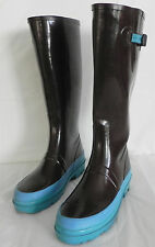 Marc Jacobs Rain Boots Rubber Size 9/9.5 Dark Brown and Turquoise Trim