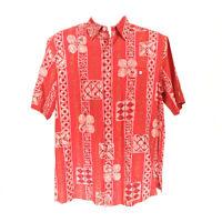 Tori Richard Men's Hawaiian Shirt Red Medium Silk Linen Short Sleeve Button-Up