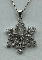 925 Sterling Silver and Diamond Snowflake Pendant Necklace