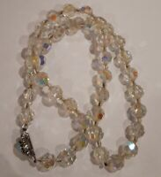 VINTAGE Czech Aurora Borealis Crystal Decorative Clasp Faceted cut necklace