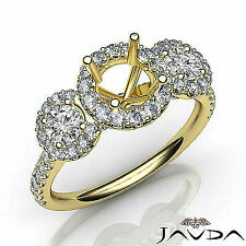 Three Stone Round Diamond Engagement Semi-mount Ring in 18k Yellow Gold