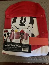 New Disney Mickey Mouse Toddler Hooded Bath Towel Wrap Cotton Size 22� x 51�