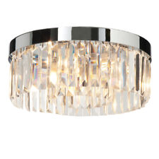 SAXBY CRYSTAL G9 Round Bathroom Ceiling Light Chrome w/ Clear Glass IP44 35612