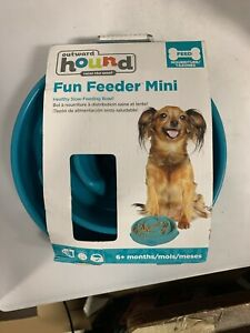 "Outward Hound Teal Mini 8"" Slow Feeder Bowl Healthy Dog Small Breeds 2-Cup Size"