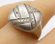 925 Sterling Silver - Vintage Genuine Diamond Cocktail Ring Sz 10 - R2108