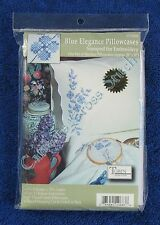 """Stamped Cross Stitch Blue Elegance Pillowcases Pair 20"""" x 30"""" Flowers Easy"""