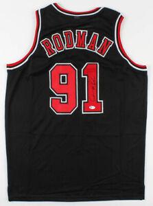 Dennis Rodman Signed Black Chicago Bulls Jersey (Beckett COA)  Leading Rebounder