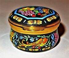 CRUMMLES ENGLISH ENAMEL BOX - FRUITS & FLOWERS & BOWS - BUTTERFLY & BIRDS