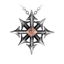 Alchemy Gothic chaostar Caos Star Bussola FRECCIA peltro ciondolo bronzo