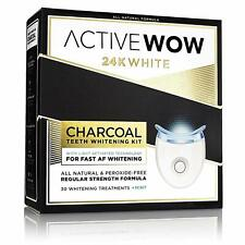 24K White Charcoal Teeth Whitening Kit - All-Natural Charcoal Whitening Gel