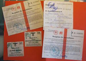 5 Stück BEZUGSSCHEINE Bezugsmarken Einkaufsausweis 1945