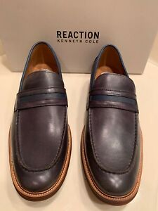 NWT MSRP $135 REACTION KENNETH COLE PALM PENNY SLIP ONS DARK GREY/NAVY SIZE11.5D