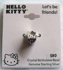 Sterling Silver Hello Kitty Amethyst Crystal Birthstone Bead - February NEW
