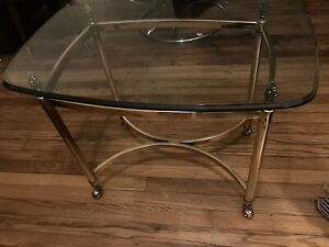 Hollywood Regency Brass Glass Rectangle Coffee End Table La Barge Style MCM Vtg