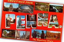 Greetings from Pennsylvania Keystone State Large Letter Chrome Postcard Unused