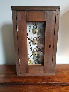 Decorative Glazed Box with Three Little Locks Handmade from Reclaimed Mahogany