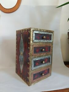 Vintage Miniature Drawers Apprentice Piece?  Spice Holder?  Wood With Metal.