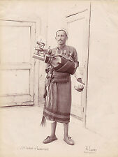 vintage large rare Lauro photo native lemonade soda street seller ethnic ca 1875