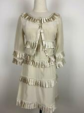 Alannah Hill Women's Ecru Ruffled Silk Dress & Jacket Sz 8 A3 ~ Free AU Post!