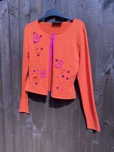 Karen Millen - Size 2 - Orange And Pink Cropped Cardigan Flower Y2k Bolero