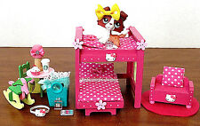 Littlest Pet Shop OOAK Handmade Wood Furniture Set with LPS Rust Red Collie Dog