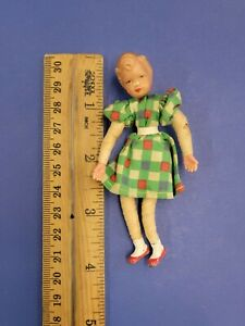 Vintage Caco Dollhouse Miniature Little Girl Child Doll - Metal Hands & Feet 40s