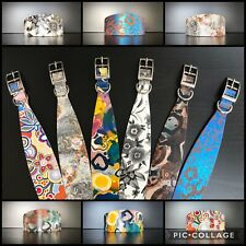 Sizes S-M Real Leather Dog Collars 6 UNIQUE DESIGNS Whippet Lurcher Greyhound