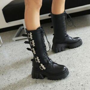 Women's Fashion Buckle Straps Lace Up Platform Mid Calf Combat Boots Shoes SKGB
