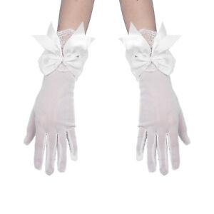 New Women Girls Floral Lace Ruffle Satin Bowknot Short Mesh Gloves Wrist Mittens