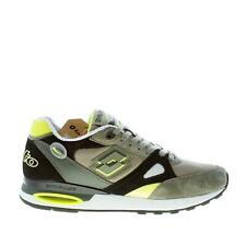 LOTTO men shoes Green tech fabric and suede Syn Stabi sneaker with black nubuck