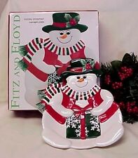 Fitz & Floyd Holiday Snowman Canape Plate Dessert W/Box Serving Plate Wall Decor