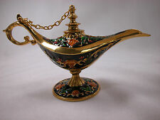 Miniature Crystal Hinged Jewelry Box Aladdin Genie Lamp Collectible #Z329 Blk