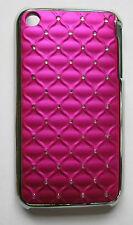 Pink/Chrome Diamante studded Jeweled padded effect Case,iPhone 3/3gs,