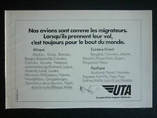 11/1974 PUB COMPAGNIE AERIENNE UTA TRANSPORT AERIEN AFRIQUE ORIGINAL FRENCH AD