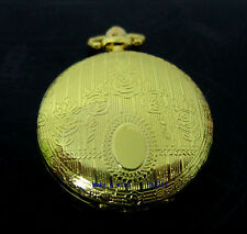 Classic Vintage Gold Pendant Rose Patten Mens Women Pocket Watch w/ Chain