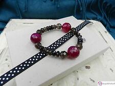 SARA BLAINE JOSIE Stretch Bracelet ~ Vibrant Berry Agate & Smoky Quartz