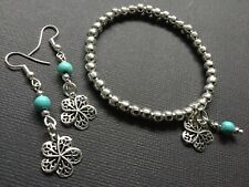 Tibetan Flower Stretch Beaded Bracelet With Gemstones Turquoise And Silver Beads