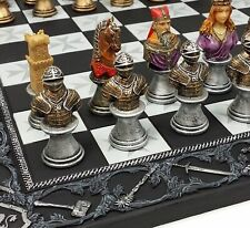 "Medieval Times Crusades Painted Busts Knight Chess Set W/ 17"" Maltese Board"