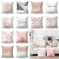 Rose Gold Pillow Case Polyester Home Sofa Bed Cover Cushions Geometric Decor
