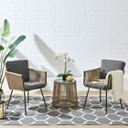 3PCS Patio Outdoor Rattan Furniture Set w/ Cushioned Chairs Coffee Table Grey