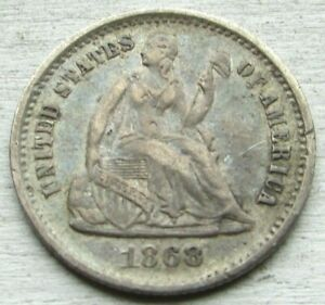 1868-S MM Below Bow H10c ~ Liberty Seated H10c ~ RARE Date ~ Pretty abt AU Coin!