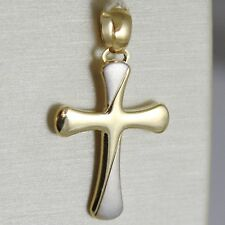 CROSS PENDANT YELLOW GOLD WHITE 750 18K,SATIN AND POLISHES,ROUNDED SHAPE,ITALY